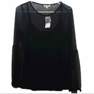 Ultra Flirt Juniors Mesh Bell Sleeve Top Black